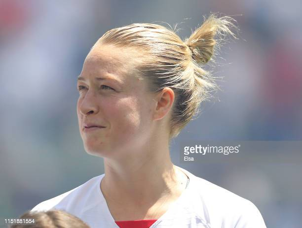 Emily Sonnett of the United States looks on during the national anthem before the match against Mexico at Red Bull Arena on May 26 2019 in Harrison...