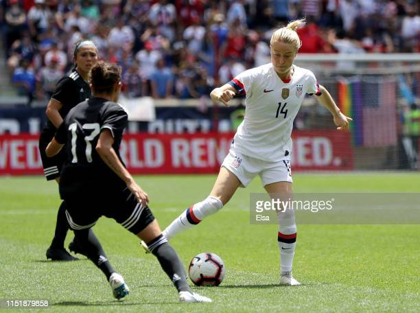 Emily Sonnett of the United States tries to get past Yamile Franco of Mexico at Red Bull Arena on May 26 2019 in Harrison New Jersey