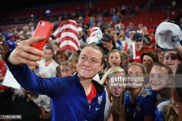 Emily Sonnett of the United States with fans after an international friendly between the women's national teams of the United States and New Zealand...