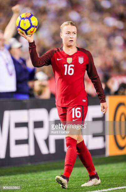 Emily Sonnett of the US women's national team prepares to throw the ball into play during the second half against the Danish women's national team at...