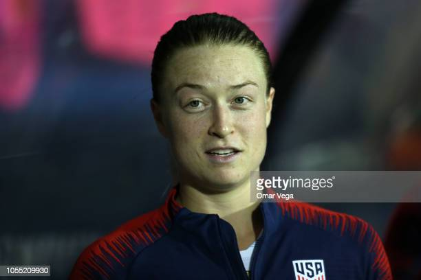 Emily Sonnett of United States smiles during the semifinal match between Jamaica and United States as part of CONCACAF Women's Championship at Toyota...