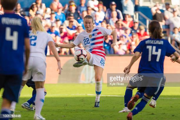 Emily Sonnett of USA attempts to chip the ball over the Japan defenses during the first half of the 2018 Tournament Of Nations on July 26 2018 at...