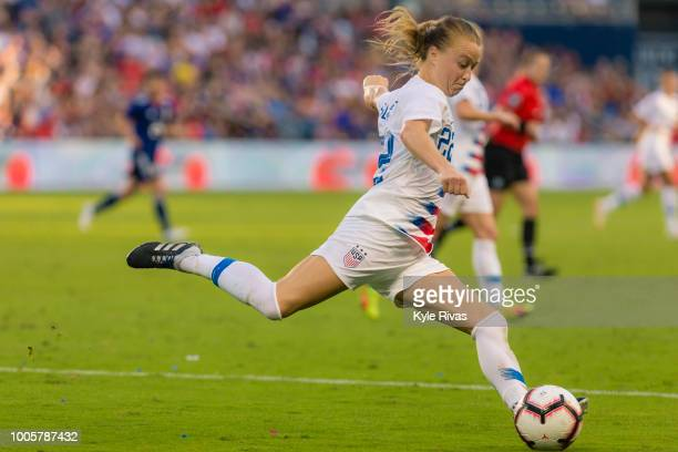 Emily Sonnett of USA drives the ball up the field against Japan during the second half of the 2018 Tournament Of Nations on July 26 2018 at...