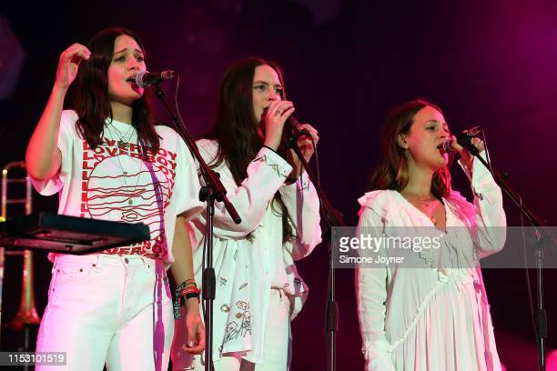 Emily StaveleyTaylor Camilla StaveleyTaylor and Jessica StaveleyTaylor of The Staves perform live on stage with Mumford and Sons during the All...