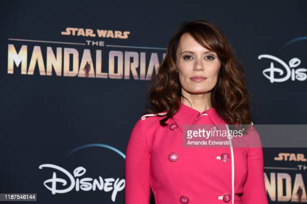 Emily Swallow arrives at the premiere of Disney's The Mandalorian at the El Capitan Theatre on November 13 2019 in Los Angeles California