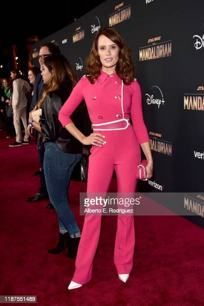 Emily Swallow arrives at the premiere of Lucasfilm's firstever liveaction series The Mandalorian at the El Capitan Theatre in Hollywood Calif on...