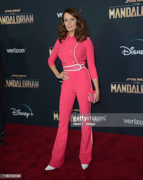 Emily Swallow arrives for the Premiere Of Disney's The Mandalorian held at El Capitan Theatre on November 13 2019 in Los Angeles California