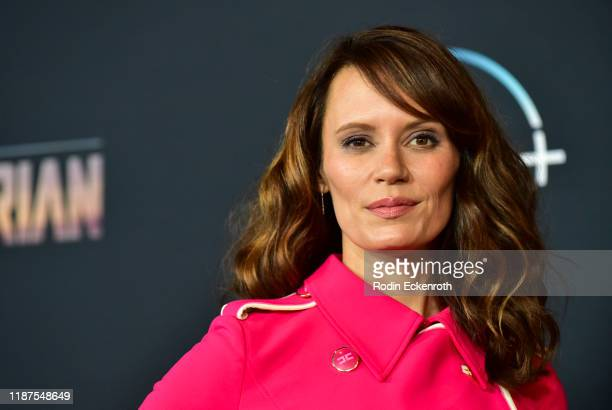 Emily Swallow attends the premiere of Disney's The Mandalorian at El Capitan Theatre on November 13 2019 in Los Angeles California