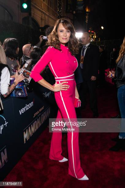 Emily Swallow attends the premiere of Disney's 'The Mandalorian' at El Capitan Theatre on November 13 2019 in Los Angeles California