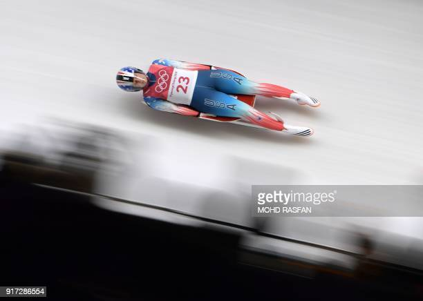 Emily Sweeney competes in the women's luge singles run 1 during the Pyeongchang 2018 Winter Olympic Games, at the Olympic Sliding Centre on February...