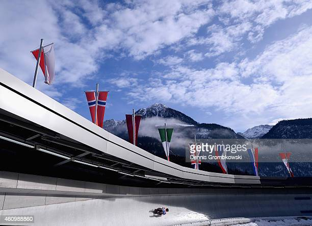 Emily Sweeney of the United States competes in the 1st run of the Women's FIL Luge World Cup Koenigssee at Deutsche Post Eisarena on January 3 2015...
