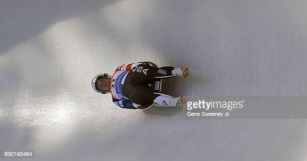 Emily Sweeney of the United States competes in the first heat of the Women's Luge competition during the second day of the 2016 FIL Luge World Cup...