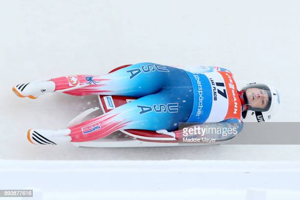 Emily Sweeney of the United States completes her second run in the Women's competition of the Viessmann FIL Luge World Cup at Lake Placid Olympic...