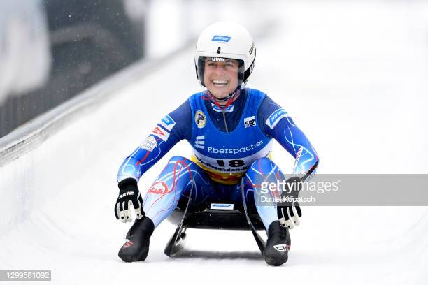 Emily Sweeney of the United States reacts after her second run in the Women's Singles during day 3 of the 50th FIL Luge World Championships 2021...