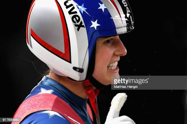 Emily Sweeney of the United States reacts during the Luge Women's Singles run 3 on day four of the PyeongChang 2018 Winter Olympic Games at Olympic...