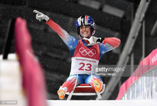 Emily Sweeney of the United States reacts following the Luge Women's Singles run 3 on day four of the PyeongChang 2018 Winter Olympic Games at...
