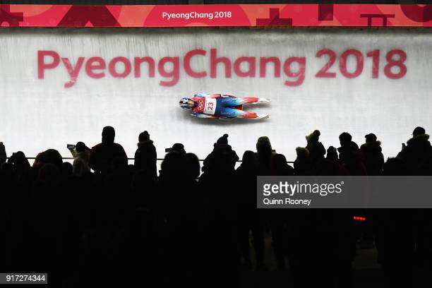 Emily Sweeney of the United States slides during the Women's Singles Luge run 1 at Olympic Sliding Centre on February 12, 2018 in Pyeongchang-gun,...