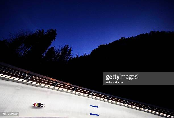 Emily Sweeny of the USA completes her second run of the Women's Luge competition at Deutsche Post Eisarena Koenigssee on January 30 2016 in...