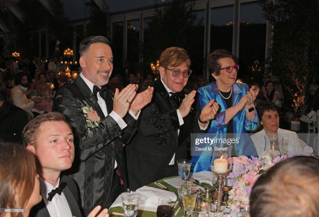 Emily Thomas, Taron Egerton, David Furnish, Sir Elton John, Billie Jean King and Ilana Kloss attend the Argento Ball for the Elton John AIDS Foundation in association with BVLGARI & Bob and Tamar Manoukian on June 27, 2018 in Windsor, England.