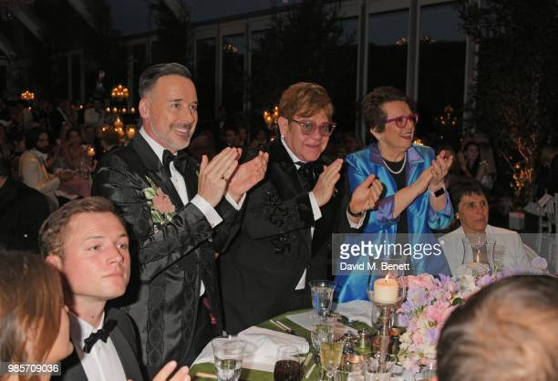 Emily Thomas Taron Egerton David Furnish Sir Elton John Billie Jean King and Ilana Kloss attend the Argento Ball for the Elton John AIDS Foundation...