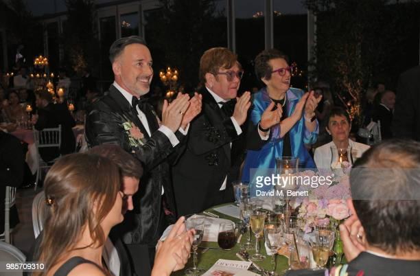 Emily Thomas Taron Egerton David Furnish Sir Elton John Billie Jean King and Ilana Kloss attend the Argento Ball for the Elton John AIDS Foundation...