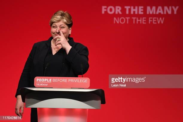 Emily Thornberry addresses delegates on the third day of the Labour Party conference on September 23 2019 in Brighton England Labour Conference will...