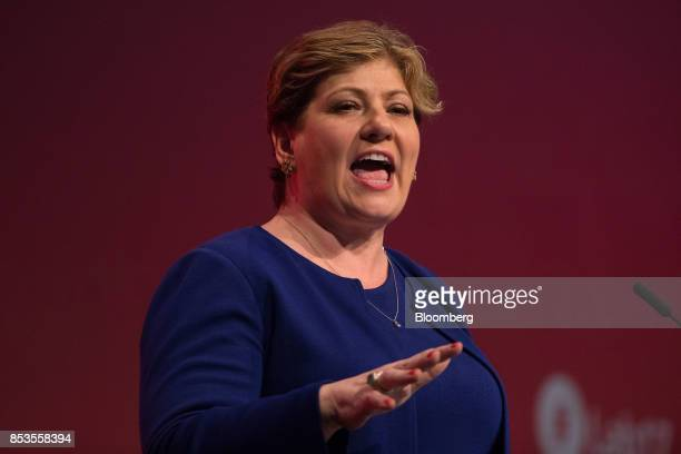 Emily Thornberry foreign affairs spokeswoman for the opposition Labour Party speaks at the Labour Party Annual Conference in Brighton UK on Monday...