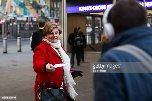Emily Thornberry foreign affairs spokeswoman for the opposition Labour Party hands out leaflets to commuters to protest against the rise in rail...