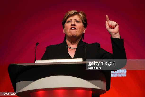 Emily Thornberry foreign affairs spokeswoman for the UK opposition Labour party gestures as she delivers her keynote speech during the annual Labour...