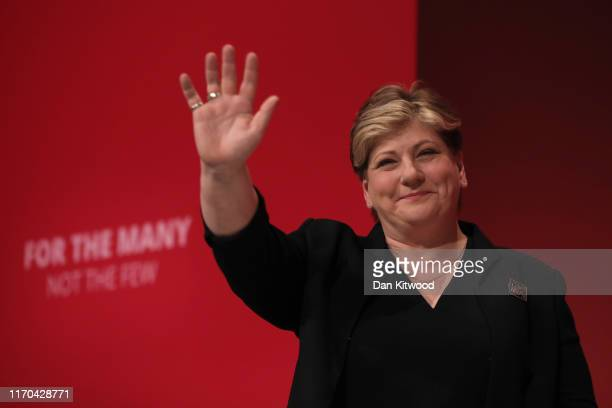Emily Thornberry MP for Islington South and Finsbury addresses delegates on the third day of the Labour Party conference on September 23 2019 in...