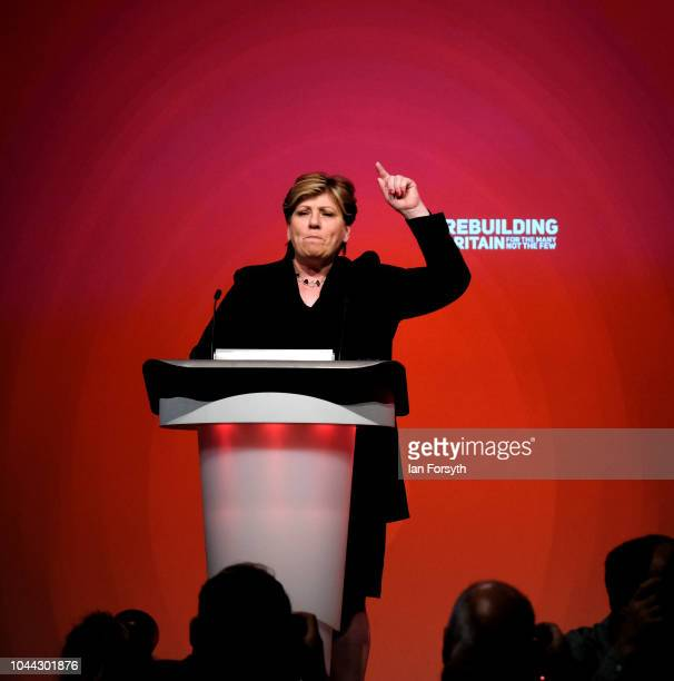 Emily Thornberry Shadow Foreign Secretary addresses the conference on day three of the Labour Party Conference on September 25 2018 in Liverpool...