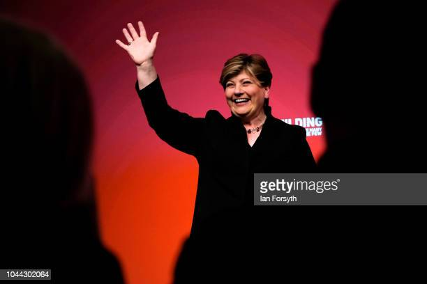 Emily Thornberry Shadow Foreign Secretary waves as she finishes her speech to the conference on day three of the Labour Party Conference on September...