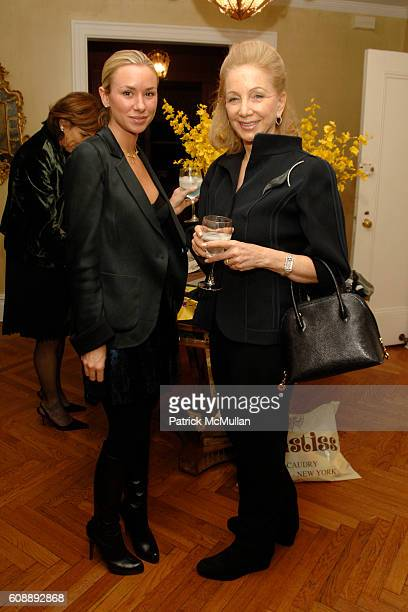 Emily Threlkeld and Susan Solomon attend Alexandra Lebenthal Maria Bartiromo Host Cocktails to Honor KIM HICKS at 17 E 96th St on November 19 2007 in...