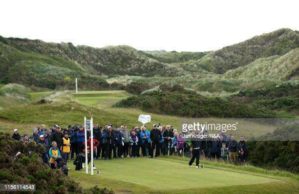 Emily Toy of England in action during the final match on day five of the RA Womens Amateur Championship at Royal County Down Golf Club on June 15...