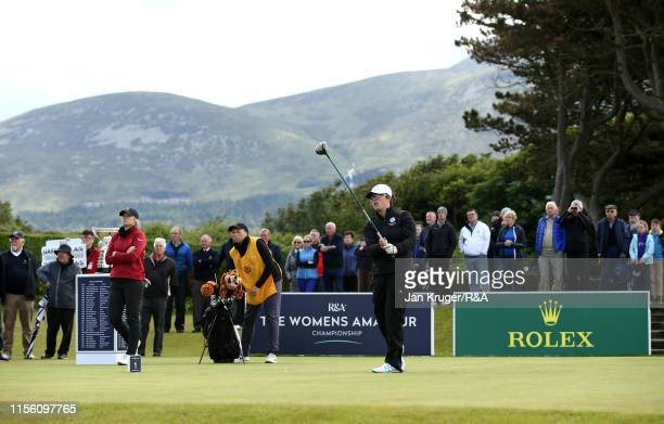 Emily Toy of England tees during the final match on day five of the RA Womens Amateur Championship at Royal County Down Golf Club on June 15 2019 in...