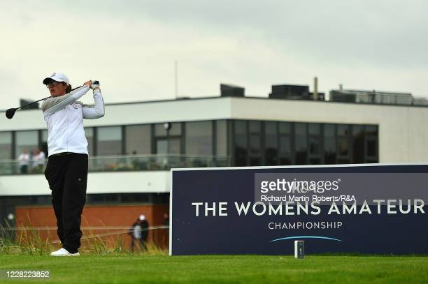 Emily Toy of England tees off during Round 1 of Matchplay on Day Three of The Women's Amateur Championship at The West Lancashire Golf Club on August...