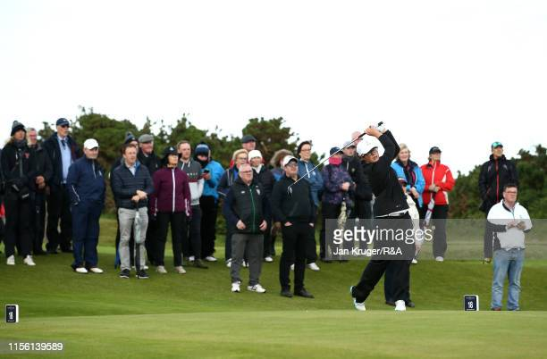 Emily Toy of England tees off on the 18th during the final match on day five of the RA Womens Amateur Championship at Royal County Down Golf Club on...
