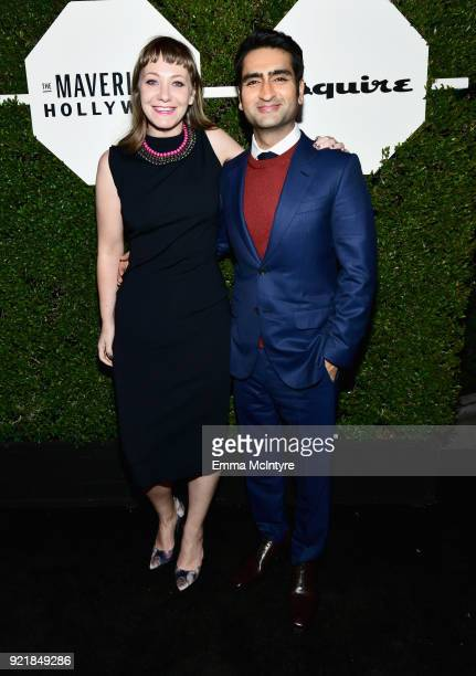Emily V Gordon and Kumail Nanjiani attend Esquire's 'Mavericks of Hollywood' Celebration presented by Hugo Boss on February 20 2018 in Los Angeles...