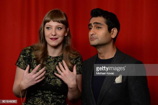 Emily V Gordon and Kumail Nanjiani attend the 18th Annual AFI Awards at Four Seasons Hotel Los Angeles at Beverly Hills on January 5 2018 in Los...