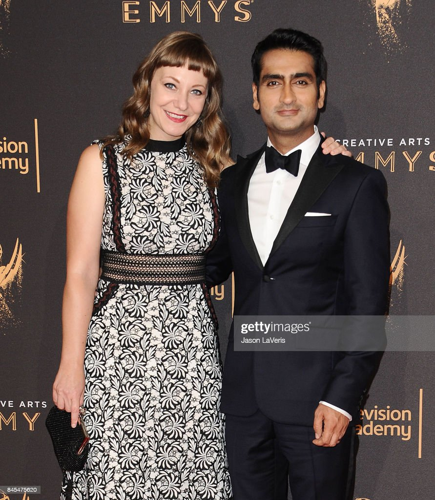 Emily V. Gordon and Kumail Nanjiani attend the 2017 Creative Arts Emmy Awards at Microsoft Theater on September 10, 2017 in Los Angeles, California.
