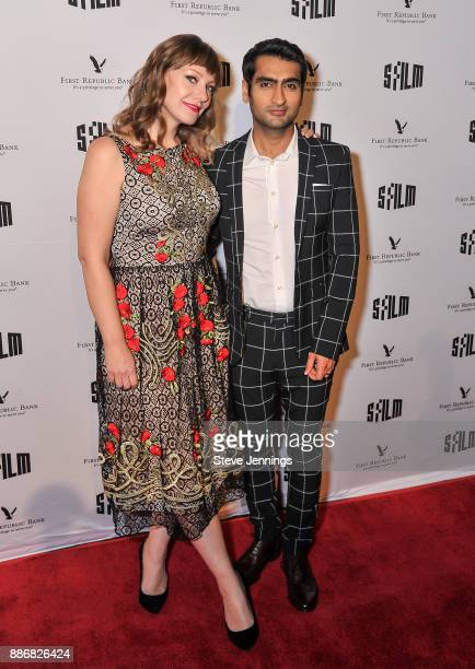 Emily V Gordon and Kumail Nanjiani attend the 2017 SFFILM Awards Night to receive the Kanbar Award for Storytelling at Palace of Fine Arts Theatre on...