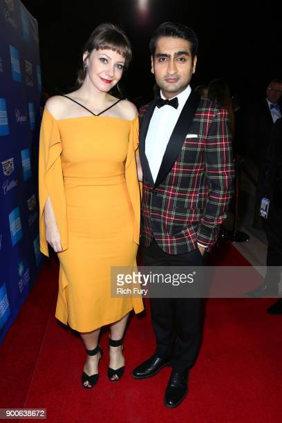 Emily V Gordon and Kumail Nanjiani attend the 29th Annual Palm Springs International Film Festival Awards Gala at Palm Springs Convention Center on...