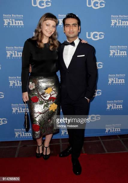 Emily V Gordon and Kumail Nanjiani attend the 33rd Annual Santa Barbara International Film Festival Virtuosos Award Presentation at Arlington Theatre...