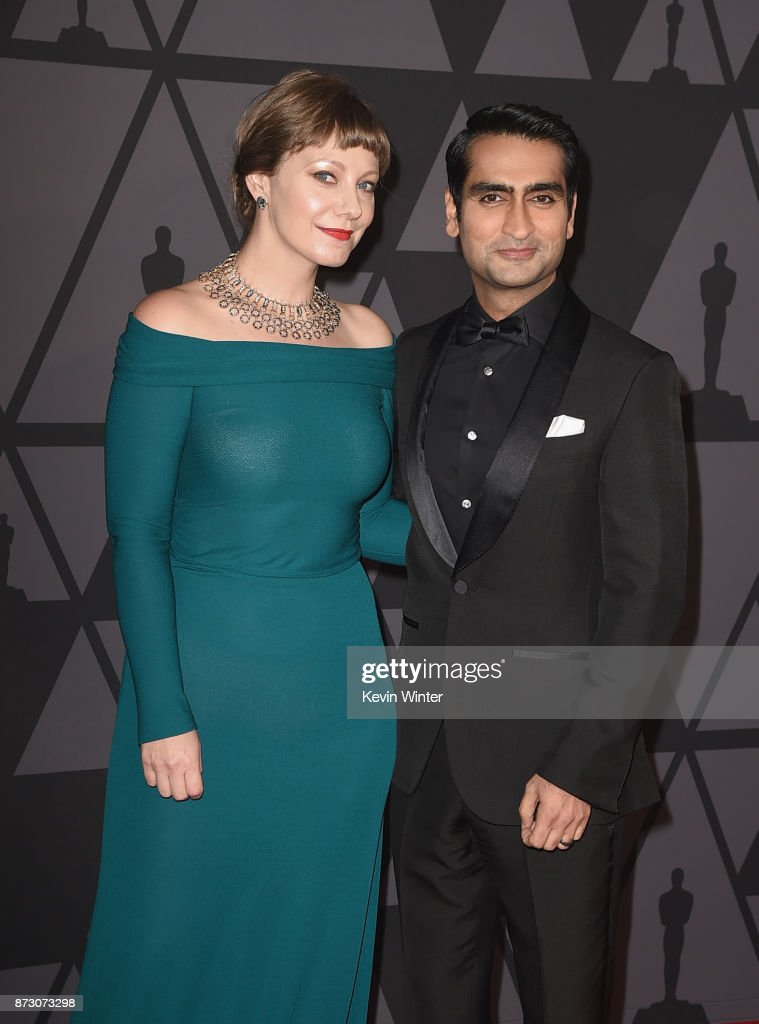 Emily V. Gordon and Kumail Nanjiani attend the Academy of Motion Picture Arts and Sciences' 9th Annual Governors Awards at The Ray Dolby Ballroom at Hollywood & Highland Center on November 11, 2017 in Hollywood, California.