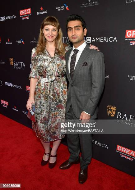 Emily V Gordon and Kumail Nanjiani attend The BAFTA Los Angeles Tea Party at Four Seasons Hotel Los Angeles at Beverly Hills on January 6 2018 in Los...