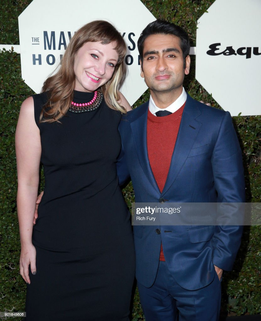 Emily V. Gordon (L) and Kumail Nanjiani attend the Esquire's Annual Maverick's of Hollywood at Sunset Tower on February 20, 2018 in Los Angeles, California.