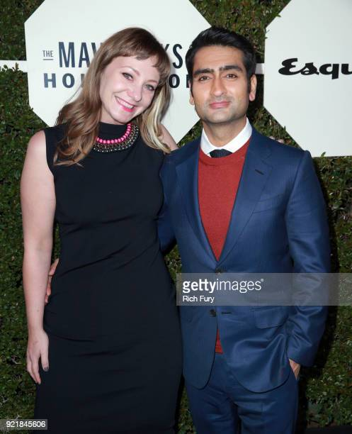 Emily V Gordon and Kumail Nanjiani attend the Esquire's Annual Maverick's of Hollywood at Sunset Tower on February 20 2018 in Los Angeles California
