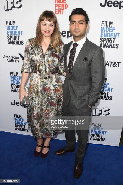 Emily V Gordon and Kumail Nanjiani attend the Film Independent Spirit Awards Nominee Brunch at BOA Steakhouse on January 6 2018 in West Hollywood...