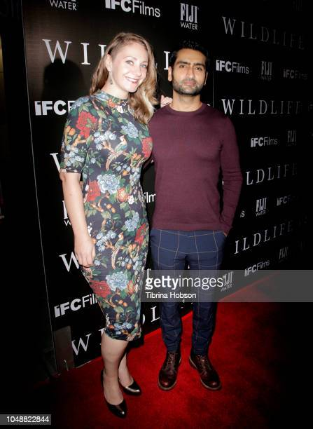 Emily V Gordon and Kumail Nanjiani attend the Los Angeles premiere for IFC Films 'Wildlife' at ArcLight Hollywood on October 9 2018 in Hollywood...