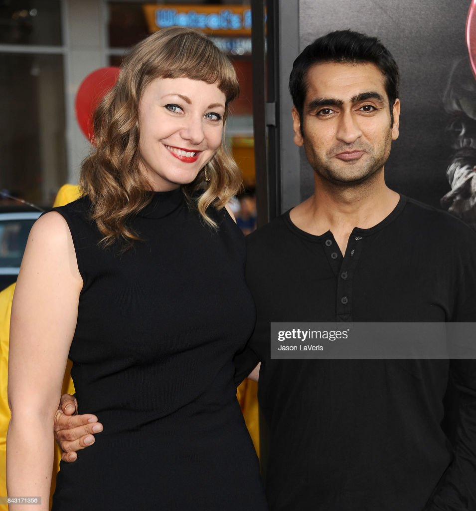 Emily V. Gordon and Kumail Nanjiani attend the premiere of 'It' at TCL Chinese Theatre on September 5, 2017 in Hollywood, California.